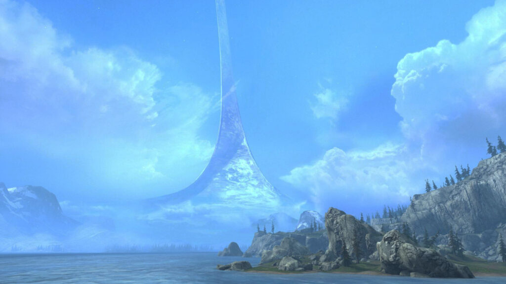 3D render van een ringvormige wereld.