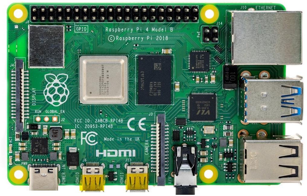 Bovenaanzicht van een Raspberry Pi minicomputer